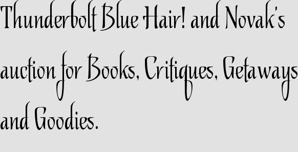 Thunderbolt Blue Hair! and Novak's auction for Books, Critiques, Getaways and Goodies.